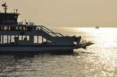 Ferry in the inland sea by sunset, Japan Royalty Free Stock Images