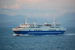 Ferry from Island. Ferry traveling from greek island Royalty Free Stock Photos