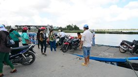 Ferry at the jetty in Hoi An, Vietnam. Ancient and peaceful, Hoi An is one of the most popular destinations in Vietnam that caters to travellers of all tastes stock footage