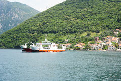 Ferry between Kamenari and Lepetane on the bay of Kotor Stock Image