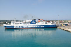 Ferry of Kefalonian lines. At Kyllini's port Stock Image