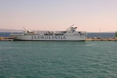 Ferry Kor�ula parket in port. Stock Photo