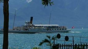 Ferry on lake Geneva stock video footage