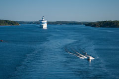 Ferry leave water area of Stockholm port. Stock Image