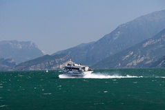 Ferry leaving at  Malcesine on Lake Garda Italy Stock Photo