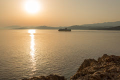 Ferry leaving port of Ile Rousse in Corsica Royalty Free Stock Photography