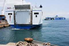 Ferry leaving the port of Piombino Stock Image