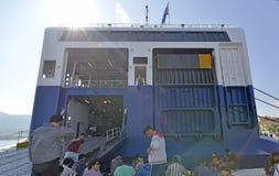 Ferry Lesvos Greece refugees Stock Photo