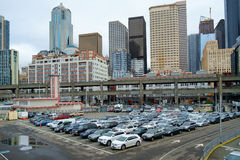 Ferry loading area. Seattle, WA, USA Feb. 11, 2017: Vehicles lines up waiting to load onto ferry at Coleman Ferry Dock at Pier 56 in Seattle, WA Royalty Free Stock Photo