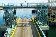 Ferry loading ramp. Bainbridge, WA, USA Feb. 11, 2017: Ferry loading ramp number 1 at Bainbridge, WA before ferry arrival Stock Photos