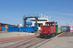 Ferry and locomotive in port Royalty Free Stock Photos