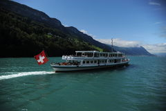 Ferry on the lurzene lake in Switzerland Stock Photo