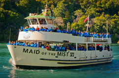 Ferry Maid of the Mist in the Niagara River. Niagara Falls. Niagara Falls, USA - September 24, 2016: Ferry Maid of the Mist in the Niagara River. Niagara Falls Stock Images