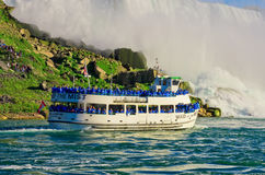 Ferry Maid of the Mist in the Niagara River. Niagara Falls. Niagara Falls, USA - September 24, 2016: Ferry Maid of the Mist in the Niagara River against Royalty Free Stock Photography
