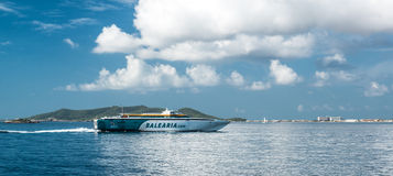 Ferry and Mediterranean sea Royalty Free Stock Image