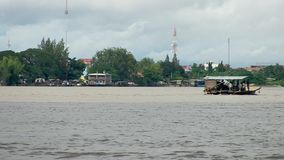 Ferry, mekong, cambodia stock footage