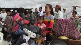 Ferry , mekong, cambodia stock video