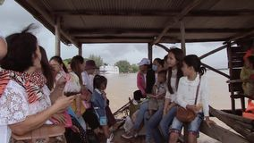 Ferry , mekong, cambodia stock footage