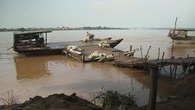 Ferry, mekong, cambodia. Ferry moored at coast Koh pene island, cambodia stock footage
