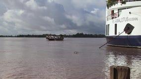Ferry,  mekong, cruise, cambodia stock video