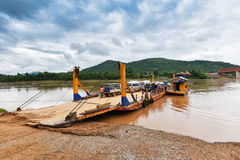 Ferry on Mekong river Stock Photo