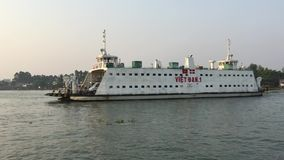 Ferry on the Mekong river in Vietnam stock video footage