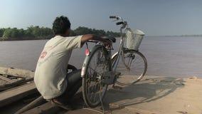 Ferry, mekong, transport, bike,  cambodia Royalty Free Stock Photos