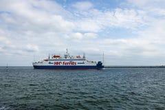 The ferry Mercandia VIII. ROSTOCK, GERMANY - AUGUST 02, 2014: The ferry Mercandia VIII, shipping company's HH-Ferries at the seaport of Rostock. Rostock is Stock Photo
