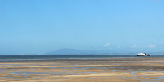 Ferry in Morecambe Bay with view to Lake District Stock Photography
