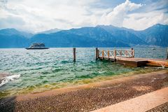 Ferry and mountains royalty free stock image