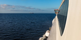 Ferry moving forward side view by the window horizon ahead Stock Images
