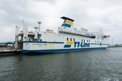 The ferry MS Huckleberry Finn. ROSTOCK, GERMANY - AUGUST 02, 2014: The ferry MS Huckleberry Finn, a shipping company's TT-Line in the seaport of Rostock. Rostock Stock Photos