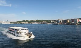 Ferry near Galata Bridge in Istanbul, Turkey stock image
