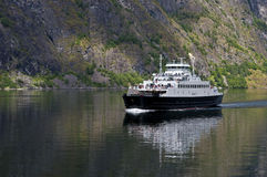 A ferry in the Nearofjord. A ferry across the Nearofjord from Flam to Gudvangen, Norway Royalty Free Stock Images