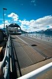 Ferry on Norwegian fjord stock photo