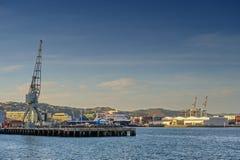 Ferry o cais na margem de Wellington, ilha norte de Nova Zelândia Foto de Stock