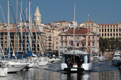 Ferry in the old harbor of Marseilles Royalty Free Stock Image