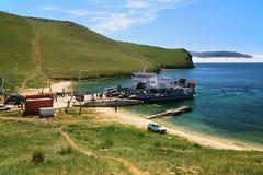 Ferry at Olkhon island on Baikal Lake Royalty Free Stock Photos
