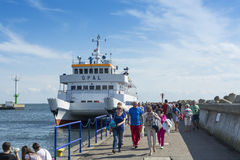 Ferry Opal and tourists Stock Photography
