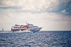 Ferry in open sea Royalty Free Stock Image