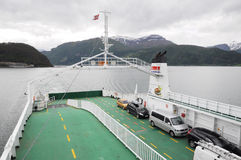FERRY OVER FJORD royalty free stock photo