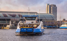 Ferry over the IJ (IJveer) in Amsterdam Centre Royalty Free Stock Photos