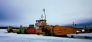 Ferry. Over lulea river sweden stock image