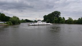 Ferry over the main at Seligenstadt royalty free stock image