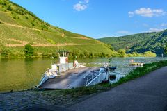 Ferry over the moselle river in Briedel, Germany Royalty Free Stock Photography