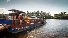 Ferry over the Rio Preguica, Barreirinhas, Maranhao, Brazil Stock Photography