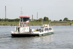 Ferry over river Waal royalty free stock images