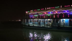 Ferry passenger ship on Hoogly river at night, Kolkata stock footage
