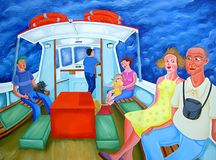 Ferry Passengers. Passengers travelling across the river on a ferry. Digital version of my original oil on canvas creation Stock Image