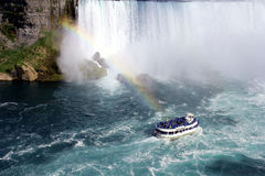 Ferry with passengers close to the Niagara waterfa. Ll on Canada's side stock photography